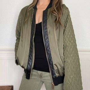 Michael Kors Army Satin Quilted Bomber Jacket